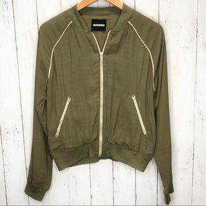 Monrow Olive Cropped Bomber Jacket Sz M